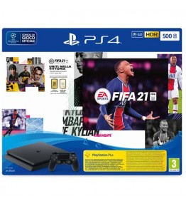 PS4 Console 500GB Chassis Slim Black + FIFA21 + FUT 21 VCH - 1